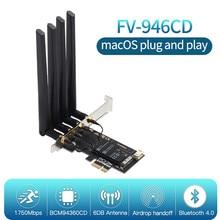 Двухдиапазонный 1750 Мбит/с BCM94360CD PCIe беспроводной адаптер Hackintosh macOS 802.11ac Bluetooth 4,0 BCM94360 оригинальная Wifi карта Airdrop
