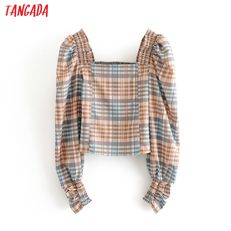 Tangada Women Plaid Print Crop Blouse Long Sleeve 2020 New Arrival Chic Female Sexy Slim Shirt Tops 3H410