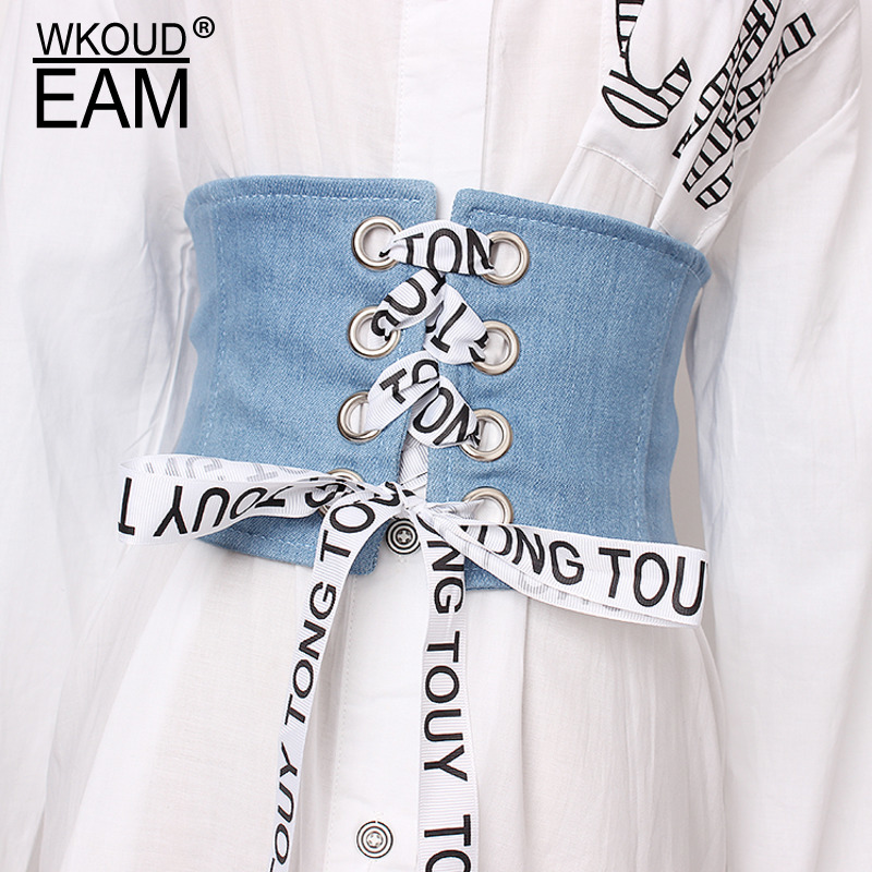EAM 2020 New Letter Decoration Bandage Denim Corset Belt Women Casual All-match Wide Belt Trendy Waistband Tide PF571