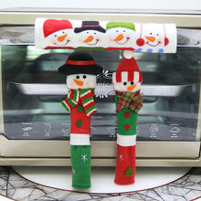 Cover Microwave Oven Home-Accessories Christmas-Snowman 3pcs/Lot Refrigerator Door-Handle