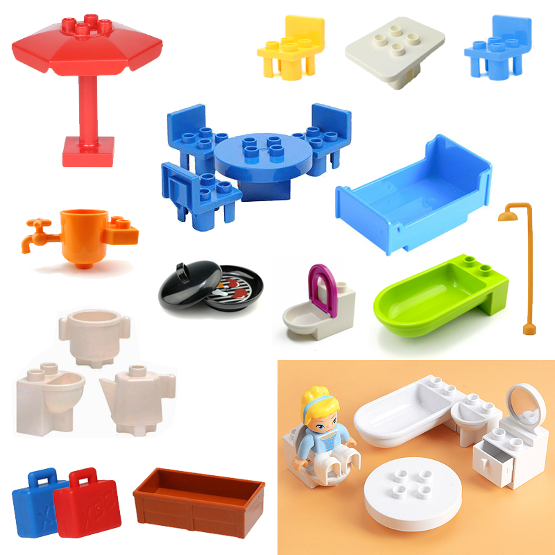 Duplo Bricks Parts Furniture Model Blocks Utensil Bathroom Bathroom Toilet Table Chair Accessories Building Blocks Part DIY Toys