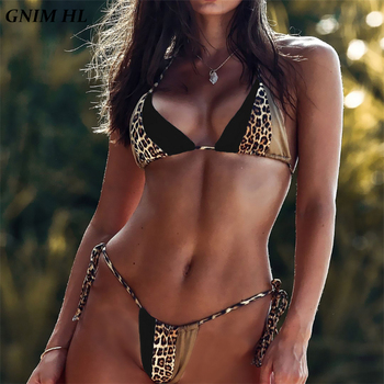 GNIM Leopard Print Thong Bikini Swimwear Women 2019 Sexy Bandage Woman Brazilian Swimsuit Bikini Set Beachwear Swim Suit Biquini zaful 2018 women new pineapple print thong bottom bikini set summer sexy swimwear spaghetti straps swimsuit colorful biquini