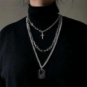 Multilayers Punk Silver Chains