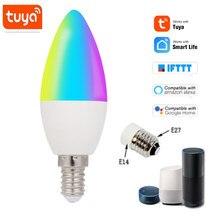Tuya – ampoule LED intelligente, wi-fi, E14, E27, RGB + W + C, lumière réglable, télécommande, fonctionne avec Alexa Google Home Assistant