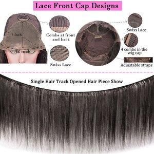 Image 5 - ברזילאי פאה ארוך קצר בוב ישר תחרה מול שיער טבעי פאות אמצע חלק מראש קטף מולבן קשרים רמי שיער פאה עבור נשים