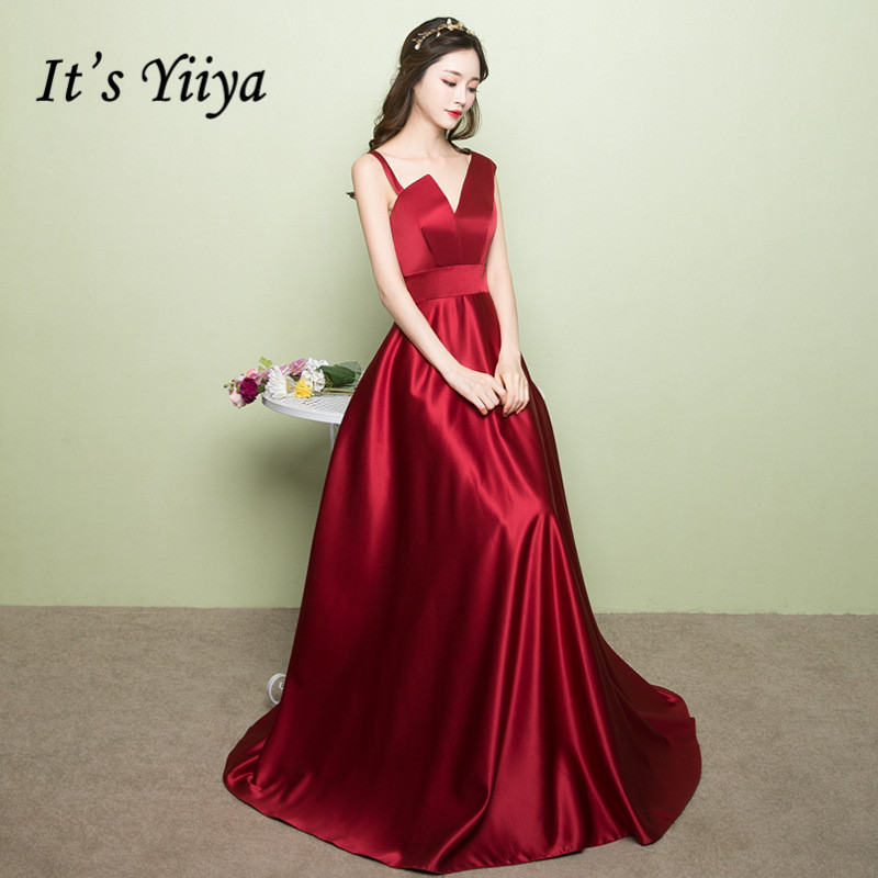 It's Yiiya Evening Gown One Shoulder Sleeveless Long Formal Dress Vestido V-neck Prom Party Burgundy Robe De Soiree K223