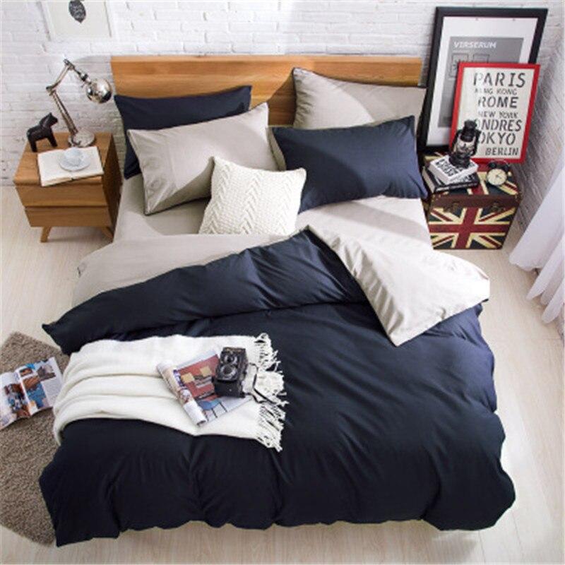 230X250cm AB Side Bedding Set Super King Duvet Cover Set Dark blue +beige 4pcs BedClothes Adult Bed Set Man Duvet Flat Sheet|Bedding Sets| |  - title=