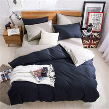 230X250cm AB Side Bedding Set Super King Duvet Cover Set Dark blue +beige 4pcs BedClothes Adult Bed Set Man Duvet Flat Sheet(China)