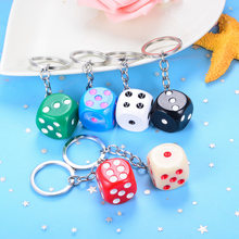 Cute Candy Muticolor Dice keychain bag pendant creative Key rings for accessories o rmen women small gift pendant key chains(China)