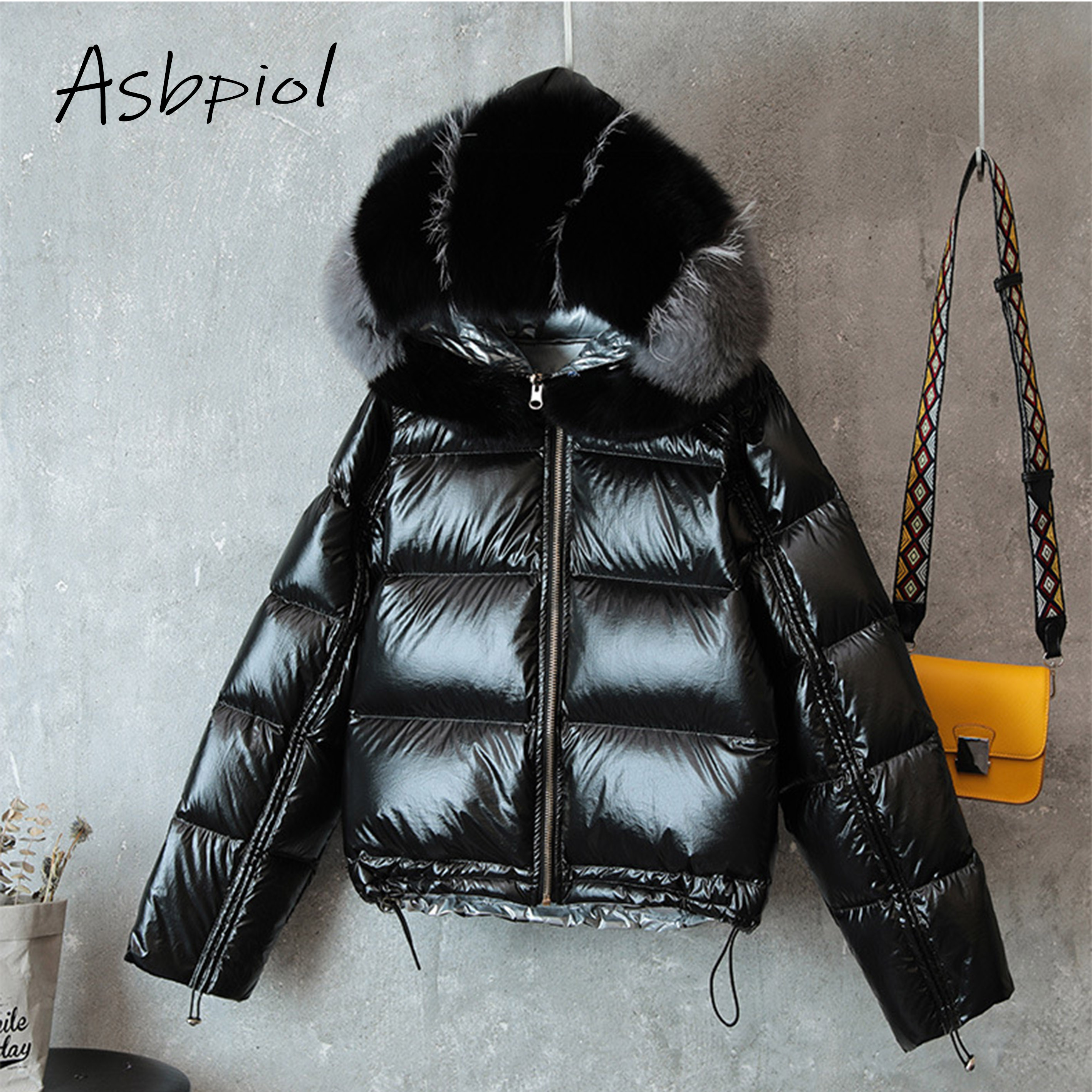 New Fashion Winter Women   Down   Jackets Fox Fur Hat Puffer Jacket Double Sided Women   Down     Coat   Snow Outwear