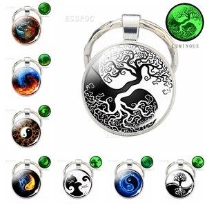 Модный металлический брелок Yin Yang Cat Tree of Life, Светящееся Стекло, кабошон, подвеска, брелок, автомобильный держатель для ключей