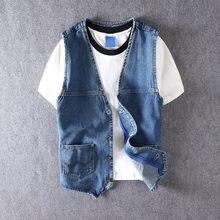 Мужской джинсовый жилет синий винтажный дизайнерский простой