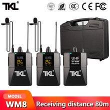 TKL DSLR Kamera Revers Mic Sender Youtube Video Aufnahme Drahtlose Mikrofon System Professional Empfänger WM8