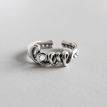 Vintage Old S925 Sterling Silver Open Ring Women Love English Letter Retro Style Lady Rings Bijoux Femme цена 2017