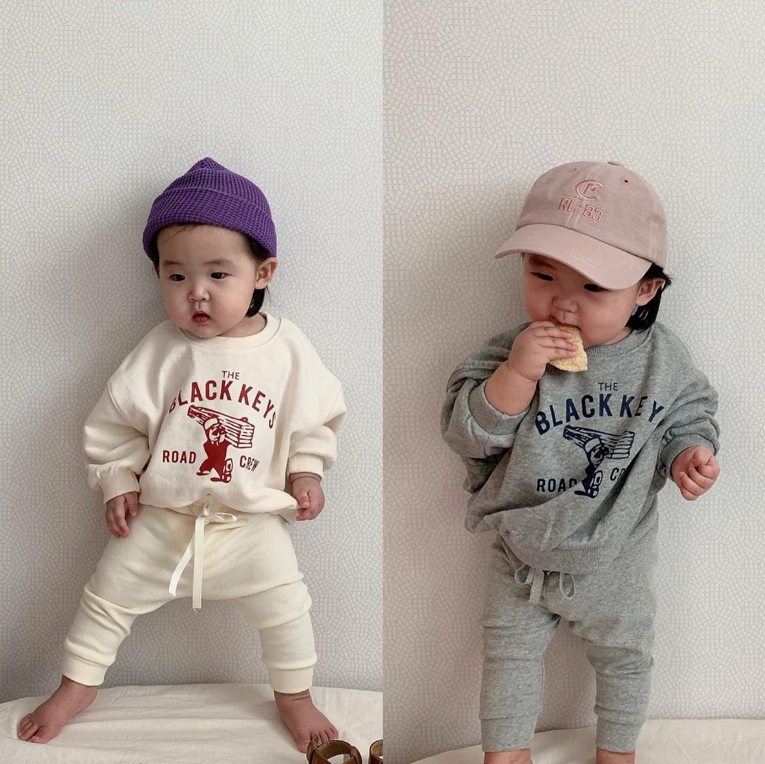 Newborn Baby Clothing Sets Boys Cartoon Long Sleeve Sweatshirt Tops Toddler Kids Girls Harem Pants Suit Children Clothes Set