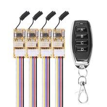 433 mhz dc 3.5 v 5 v 9 v 12 v mini relé interruptor de controle remoto sem fio para lâmpada led 4 pces micro receptor e transmissor preto
