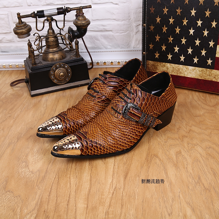 Sapato Social Italian Mens Shoes High Heels Snake Skin Genuine Leather Men's Shoes Oxford Pointed Toe Dress Formal Office