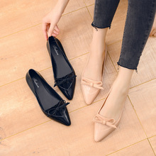 Women Shoes Waterproof Shallow Mouth Pointed Single Shoes Women's Sweet Bow Flat Shoes Jelly Shoes Work Rain Shoes Flatform