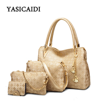 2019 New Fashion Composite Bags Women Europe and America Single Shoulder Bags Lady Large Capacity Handbags 4pcs/set Chain Bags