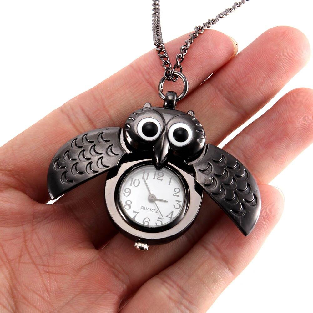 New Women Vintage Pocket Watch Quartz Watch Cool Chain Cute Owl Cover Watches MV66