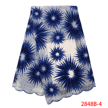 Blue Velvet Lace Fabric 2019 Latest Embroidered Nigerian French Tulle Lace High Quality African Lace Fabric QF2848B