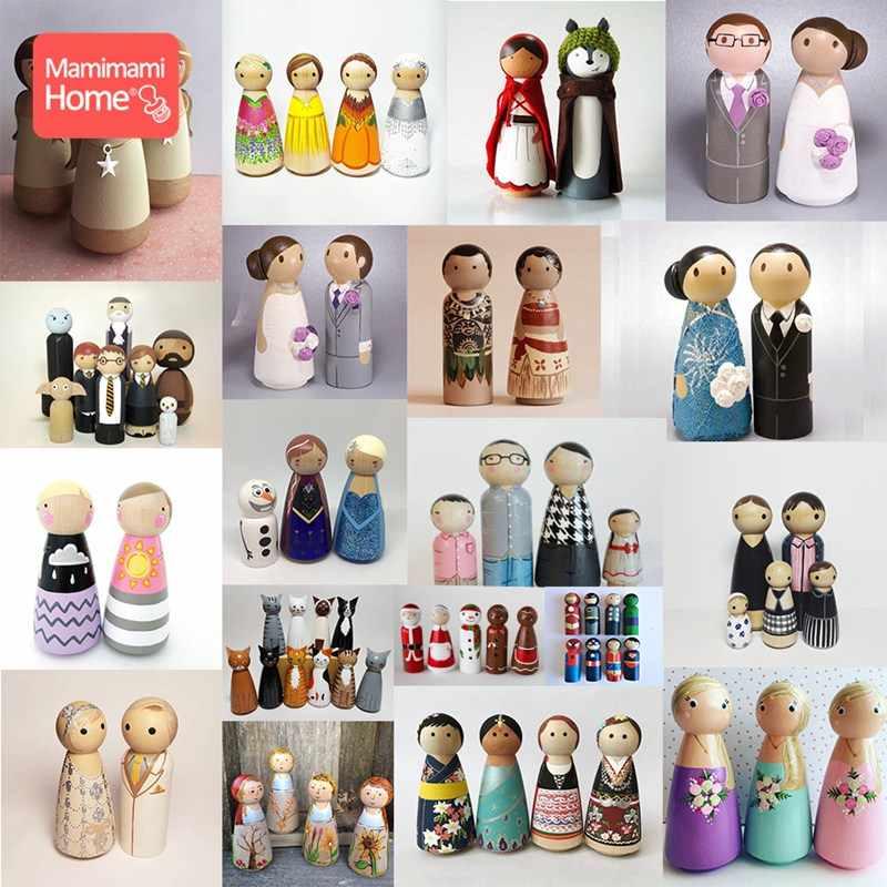 10pc drewniane lalki 75mm-90mm drewniane puste lalki peg dziewczyna chłopiec DIY niedokończone lalki klon gryzoni Handmade produkt dla dzieci prezent na boże narodzenie