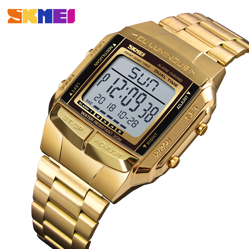 Brand <font><b>SKMEI</b></font> Watch Fashion Men's Wristwatch Luxury Stopwatch Count down Digital Bracelet For Men Stainless Steel Mens Watches image
