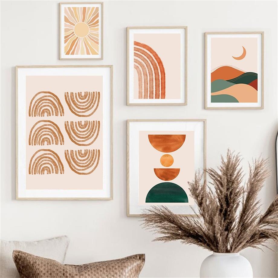 Абстрактная Картина на холсте в стиле бохо, настенные постеры с изображением солнца, радуги, Листьев, девушек, линий, для декора гостиной