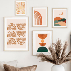 Sun Rainbow Leaves Girl Face Lines Abstract Boho Wall Art Canvas Painting Posters And Prints Wall Pictures For Living Room Decor