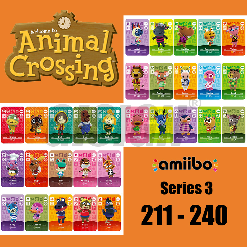 New Horizons <font><b>Amiibo</b></font> Animal Crossing <font><b>Card</b></font> For NS <font><b>Switch</b></font> 3DS Game Marshal <font><b>Card</b></font> Set <font><b>NFC</b></font> <font><b>Cards</b></font> Series 3 (211 to 240) image