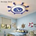 Современный минималистичный потолочный светильник в скандинавском стиле с синим рулем для мальчиков  спальни  детской комнаты  светодиодн...
