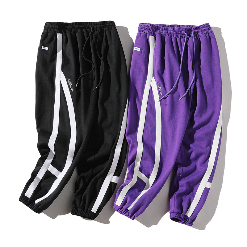 Vertical Ze Produced 18aw National Trends Origional Cross Stripes Skinny Gymnastic Pants Japanese-style Casual Pants MEN'S Trous