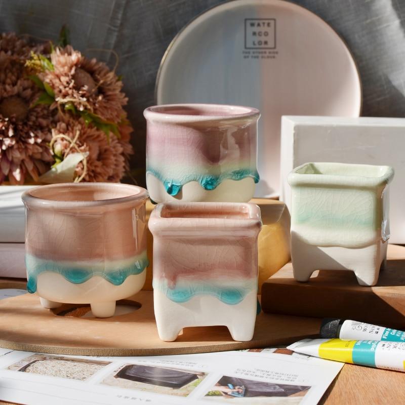 Nordic Glaze ceramic flower pot Creative Mini plant succulent pots macetas de ceramica home decor de fleur balcony decorations