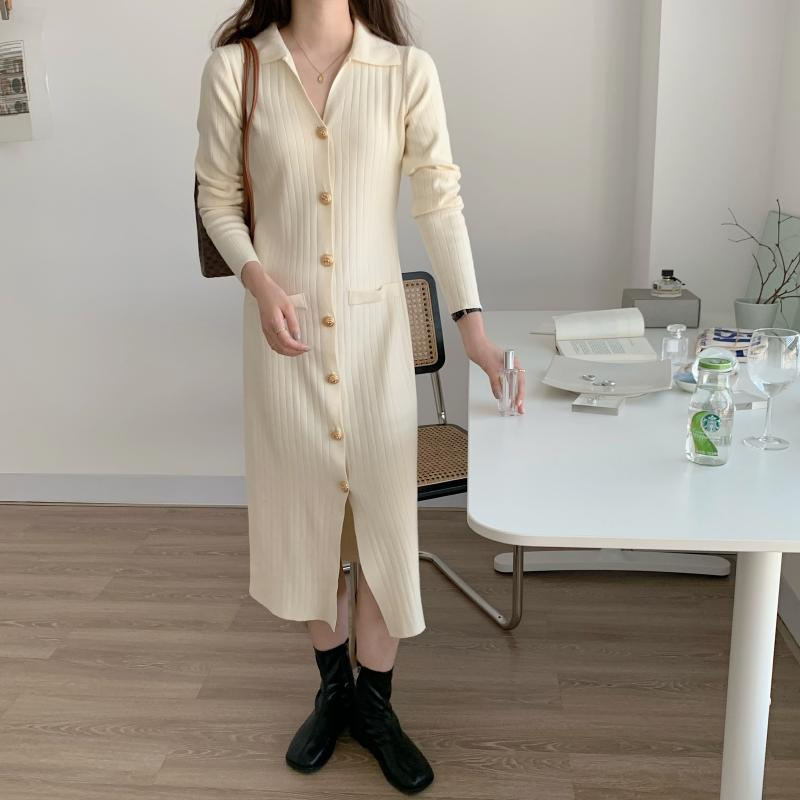 He0830868e6d7491ba729730005023fb6b - Autumn Turn-Down Collar Soft Slim Solid Long Sweater Dress
