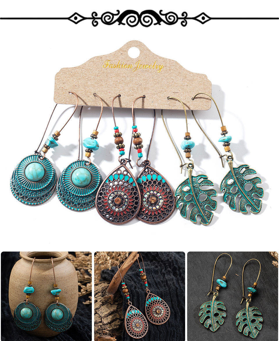 He08319f7ecd5436faa90286ed5febee2V - Multiple Women's  Boho Ethnic Drop Earrings
