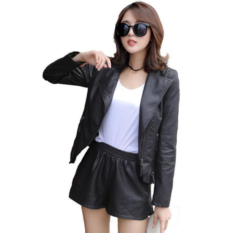 Women   leather   coat 2019 new spring autumn slim zipper black faux   leather   jacket fashion biker moto style ladies jackets