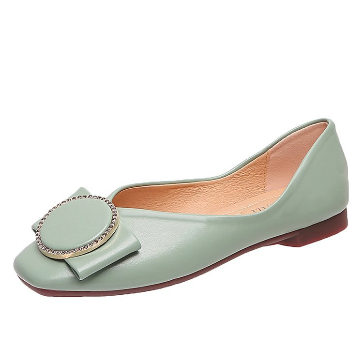 Women's Flats Autumn Fashion Toe Crystal Non-Slip Casual Solid Square All-Match 35-40