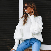 ALLNeon Casual Turtlenecks for Female Solid Oversized Lantern Sleeve Knitted Jumpers Winter Women Pullovers Elegant Sweater Fall