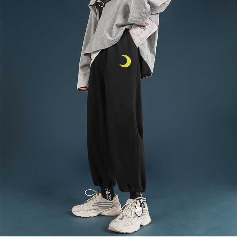 New Women Fashion Casual Sweatpants Loose Elastic Waist Sportswear Capris Female Printed Korean Student Sports Pants E309