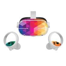 Para oculus quest 2 vr adesivos fone de ouvido realidade virtual dos desenhos animados decalques proteção da pele do pvc para oculus quest 2 vr acessórios