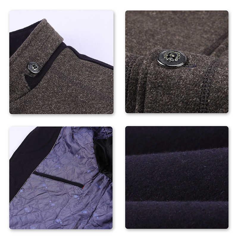 YOUTHUP Kış erkek Yün Renk Eşleştirme Ceket Tek Göğüslü Rahat Kalın Palto Paltolar Erkek Sonkat Streetwear 2 Renk