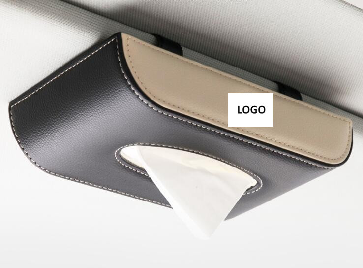 Car Leather Sun Visor Tissue Box Holder Removable Paper Napkin Box Organizer Fit For BMW TOYOTA LEXUS FORD NISSAN Mitsubishi