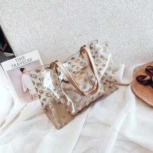 PVC Summer Bag interior zip small bag transparent bag women for shopping travel flowers print pu handle Messenger Bag white bag