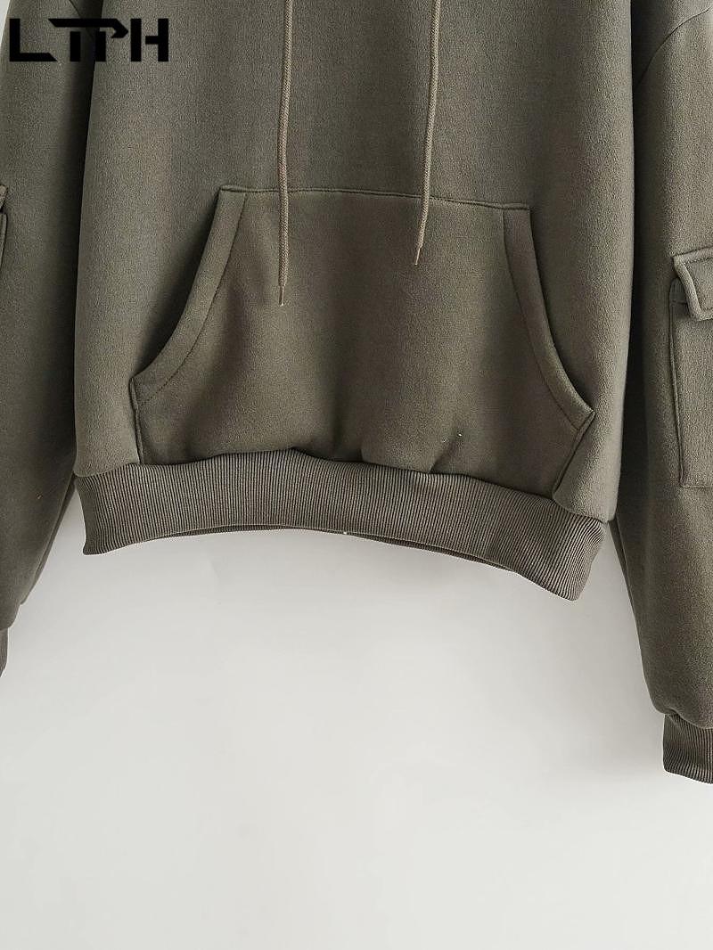Ltph винтажные армейские зеленые толстовки с капюшоном свободные