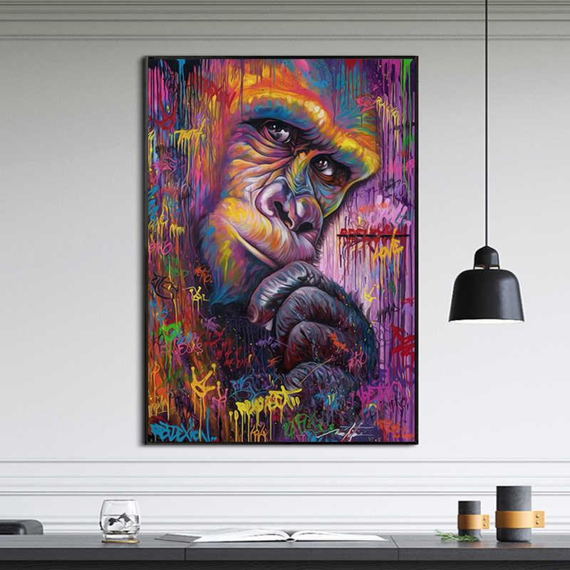 RELIABLI ART Scimmia Gorilla Animale Graffit Opere D'arte Astratta della Tela di Canapa Pittura di Arte Della Parete Per Soggiorno Decorazione Moderna Senza Cornice