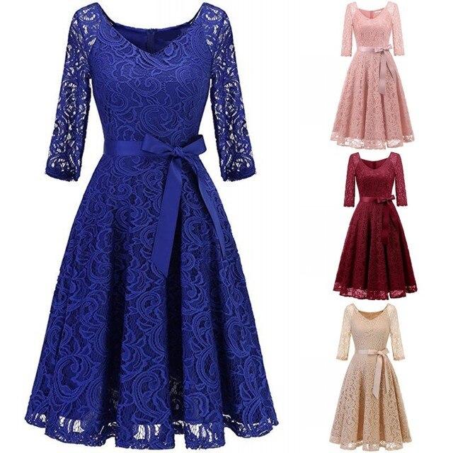 שמלת ערב 2020 רויאל בלו תחרה קצר פורמליות אלגנטית קו v צוואר חצי שרוול Robe דה soiree