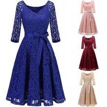 Akşam elbise 2020 kraliyet mavi dantel kısa resmi elbise zarif bir çizgi V boyun yarım kollu robe de soiree