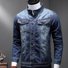 Classic Male Retro Washed Denim Stand Collar Casual Mens Jeans Jacket Trucker Biker Motorcycle Coat Slim Fit Outwear Plus Size(China)