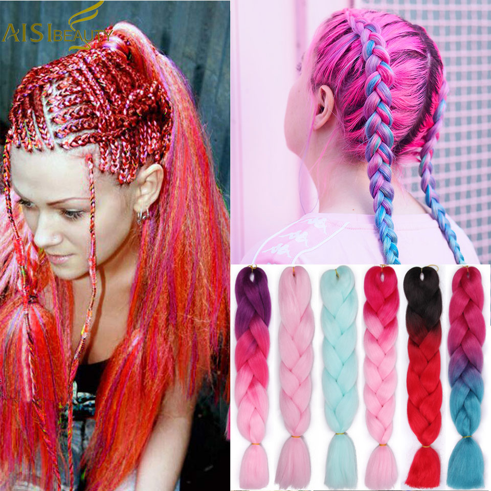 AISI BEAUTY Ombre Braiding Hair Kanekalaon Jumbo Braids  Synthetic High Temperature Fiber  Ombre Pink Red Purple Hair Extensions