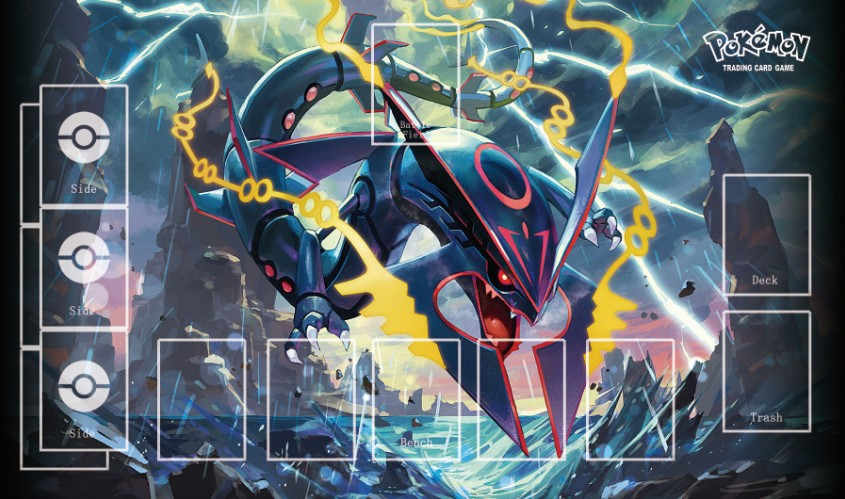 Takara Tomy PTCG Accessories Pokemon Playmat Card Table Game Rayquaza Toys For Children